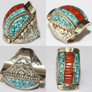 Af 0085 bague afghane medievale corail turquoise ethnique 4