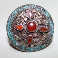 AF-0088 - Grosse Bague Ethnique Afghane et Médiévale Cornaline, Turquoise, T 59 - 81 carats 16.2 gr