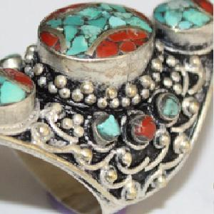 Af 0091 bague afghane tibetaine corail turquoise 2