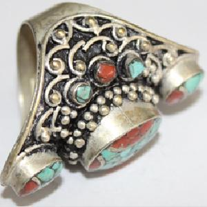 Af 0091 bague afghane tibetaine corail turquoise 4