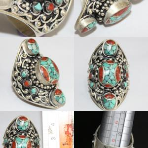 Af 0091 bague afghane tibetaine corail turquoise 5