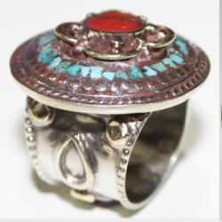Af 0092 bague afghane medievale corail turquoise ethnique 3