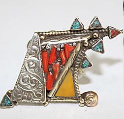 AF-0099 - Grosse Bague Ethnique Afghane et Médiévale Corail, Turquoise,Ambre T 64 - 82 carats