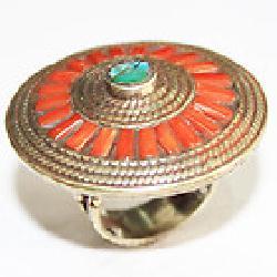 Af 0130 bague afghane ethnique medievale corail turquoise 1