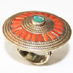 Af 0130 bague afghane ethnique medievale corail turquoise 3