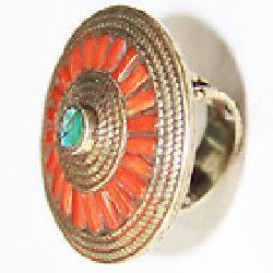 Af 0130 bague afghane ethnique medievale corail turquoise 4
