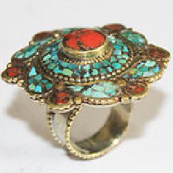 AF-0131 - Belle Bague Ethnique Afghane et Médiévale Corail, Turquoise,  T 55 - 98 carats 19.6 gr