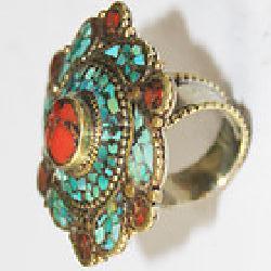 Af 0131 bague afghane ethnique medievale corail turquoise 2