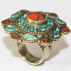 Af 0131 bague afghane ethnique medievale corail turquoise 3