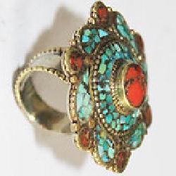 Af 0131 bague afghane ethnique medievale corail turquoise 4