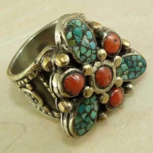 Af 0202 bague afghane medievale turquoise corail ethnique 1