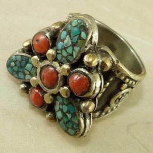 Af 0202 bague afghane medievale turquoise corail ethnique 2