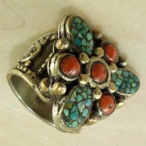 Af 0202 bague afghane medievale turquoise corail ethnique 3