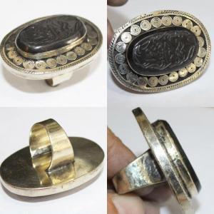 Af 0260 bague coranique onyx noir verset coran argent 1