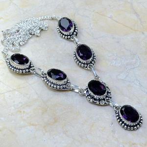 Am 1052a collier parure sautoir 1900 amethyste pourpre bijou achat vente argent 925