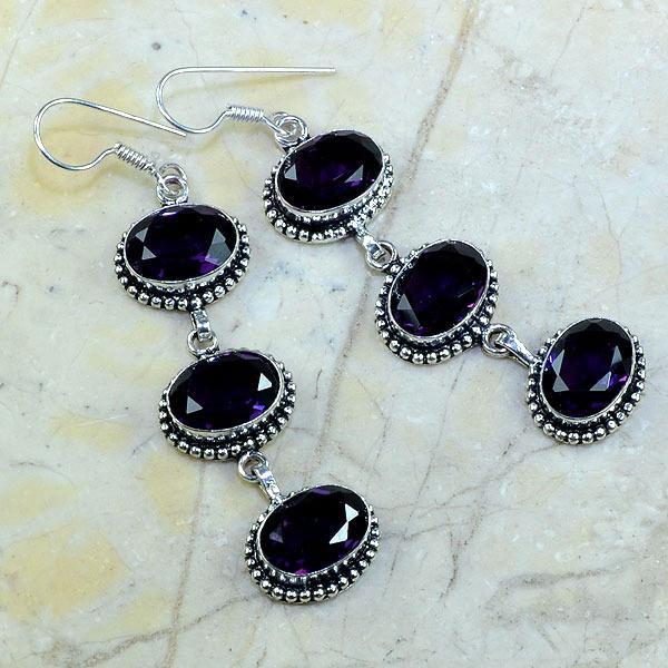 Am 1055a boucles pendants oreilles amethyste violet pourpre bijou achat vente argent 925