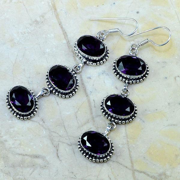 Am 1055b boucles pendants oreilles amethyste violet pourpre bijou achat vente argent 925