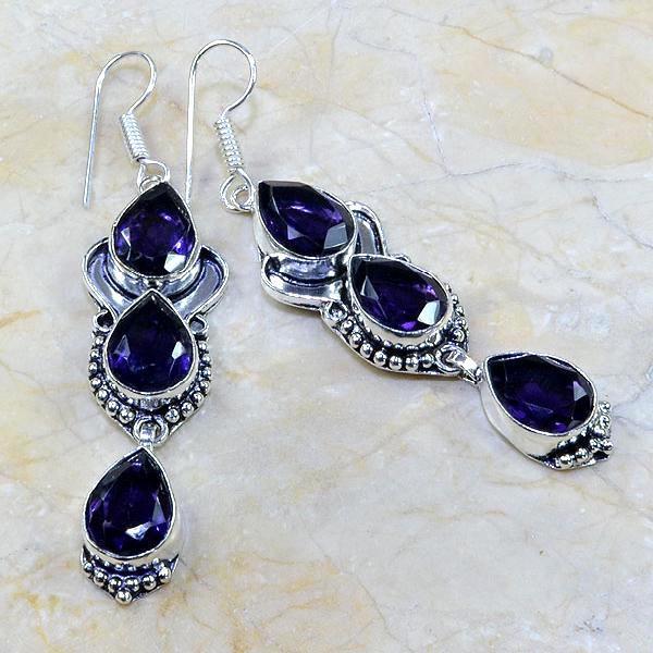 Am 1078a boucles pendants oreilles amethyste violet pourpre bijou achat vente argent 926