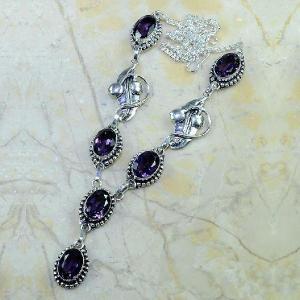 Am 1127a collier parure sautoir 1900 art deco amethyste pourpre bijou achat vente argent 925