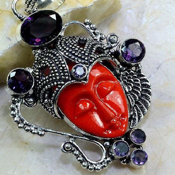 Am 1189c pendant pendentif amethyste jaspe bouddha pierre gemme achat vente bijou argent 925