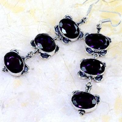 Am 1192a boucles pendants oreilles amethyste violet pourpre bijou achat vente argent 925