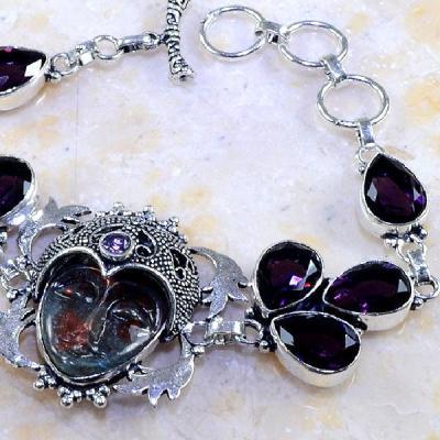 Am 1195b bracelet amethyste violette pourpre bouddha hippie bijou achat vente argent 925