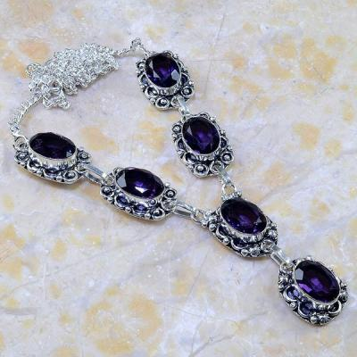 Am 1205a collier parure sautoir 1900 amethyste pourpre bijou achat vente
