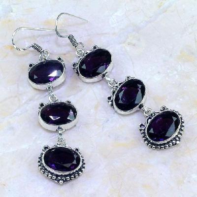 Am 1241a boucles pendants oreilles amethyste violet pourpre bijou achat vente argent 925
