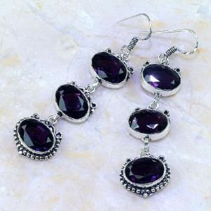 Am 1241b boucles pendants oreilles amethyste violet pourpre bijou achat vente argent 925
