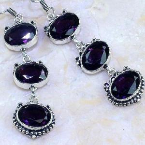 Am 1241c boucles pendants oreilles amethyste violet pourpre bijou achat vente argent 925