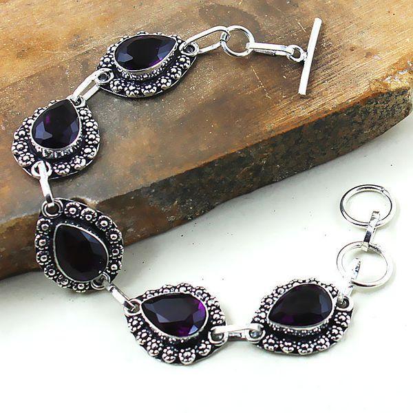 Am 1290a bracelet 1900 belle epoque amethyste violette pourpre bijou achat vente argent 925