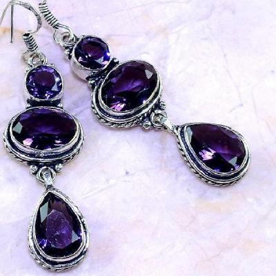 Am 1300c boucles pendants oreilles 1900 amethyste pourpre bijou achat vente