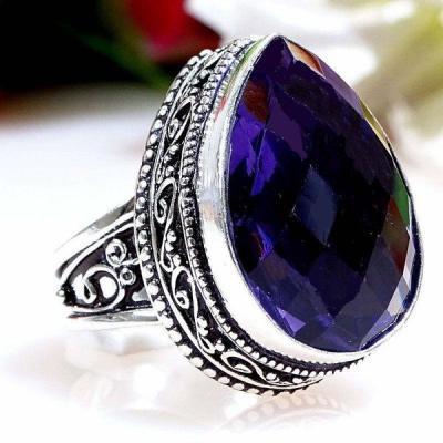 Am 1327a bague t58 episcopale medievale amethyste violet 1900 bijoux achat vente argent 925