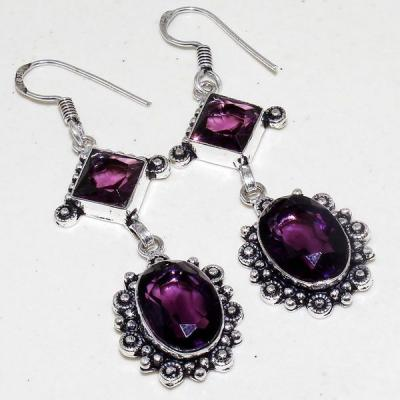 Am 1331a boucles pendants oreilles amethyste violet 1900 bijoux achat vente argent 925