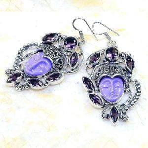 Am 1336a boucles pendants oreilles bouddha amethyste violet 1900 achat vente argent 925