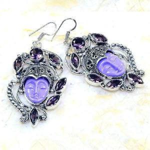 Am 1336b boucles pendants oreilles bouddha amethyste violet 1900 achat vente argent 925