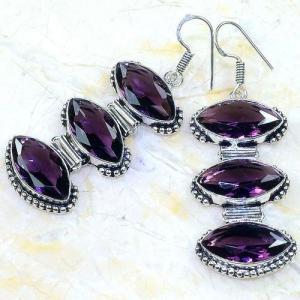 Am 1349b boucles pendants oreilles amethyste pourpre violet 1900 achat vente argent 925