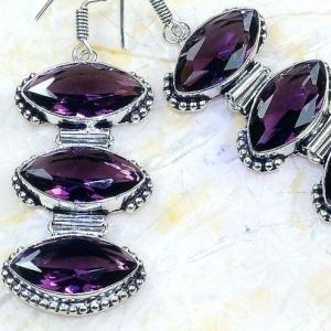 Am 1349c boucles pendants oreilles amethyste pourpre violet 1900 achat vente argent 925