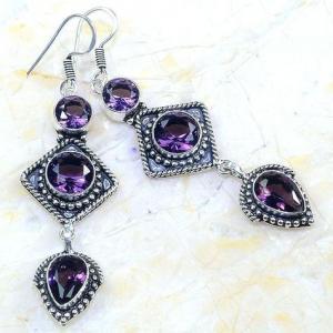 Am 1354a boucles pendants oreilles amethyste pourpre violet 1900 achat vente argent 925