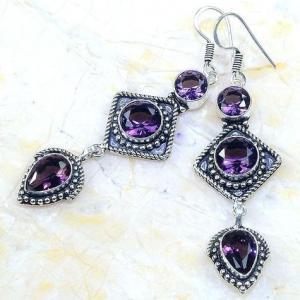 Am 1354b boucles pendants oreilles amethyste pourpre violet 1900 achat vente argent 925