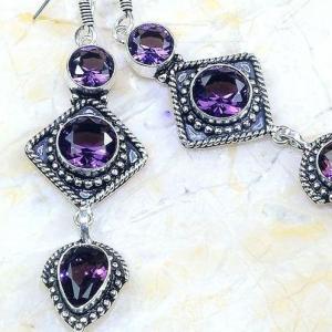 Am 1354c boucles pendants oreilles amethyste pourpre violet 1900 achat vente argent 925