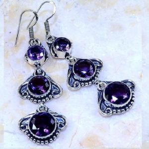 Am 1355a boucles pendants oreilles amethyste pourpre violet 1900 achat vente argent 925