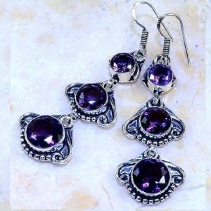 Am 1355b boucles pendants oreilles amethyste pourpre violet 1900 achat vente argent 925