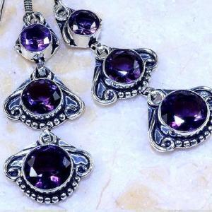 Am 1355c boucles pendants oreilles amethyste pourpre violet 1900 achat vente argent 925