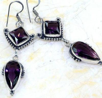 Am 1356c boucles pendants oreilles amethyste pourpre violet 1900 achat vente argent 925