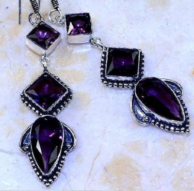 Am 1358c boucles pendants oreilles amethyste pourpre violet 1900 achat vente argent 925