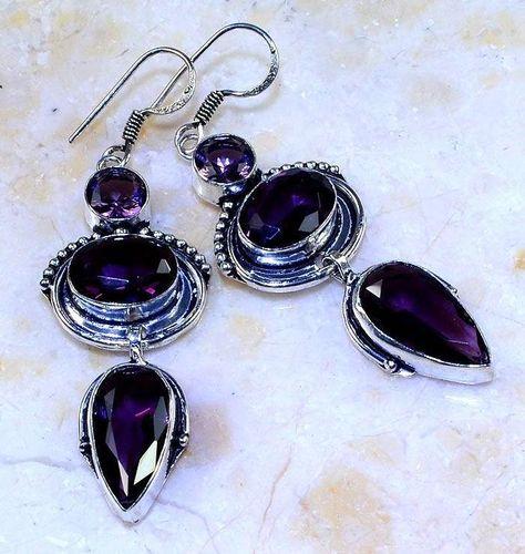 Am 1360a boucles pendants oreilles amethyste pourpre violet 1900 achat vente argent 925