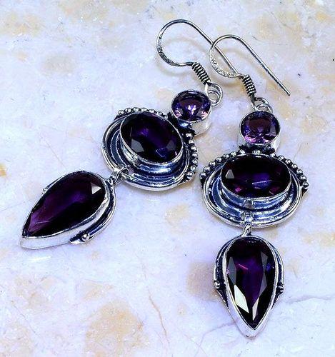 Am 1360b boucles pendants oreilles amethyste pourpre violet 1900 achat vente argent 925