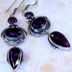 Am 1360c boucles pendants oreilles amethyste pourpre violet 1900 achat vente argent 925