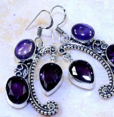 Am 1362c boucles pendants oreilles amethyste pourpre violet 1900 achat vente argent 925